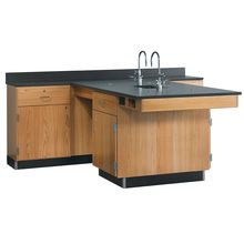 Perimeter Workstation with Drawer over Doors on All Cabinets