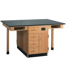 4-Student Double-Sided Flat Top Service Center with Cupboard and Drawers