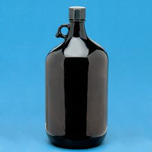 Safety-Coated 4-L Amber Glass Bottle