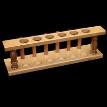 Test Tube Support, Hardwood, 20 mm, 6 Holes/6 Pins