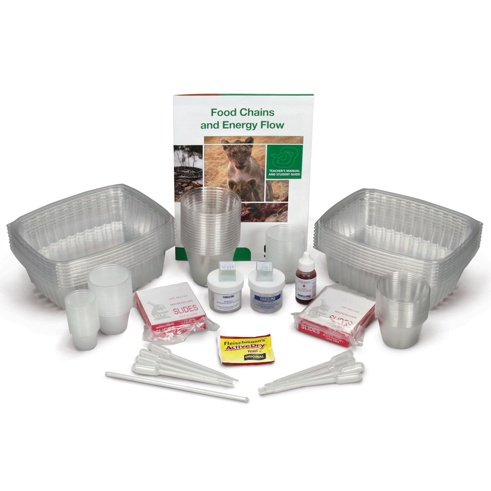Construct a model food chain for a system of microorganisms and more with the Carolina EcoKits®: Food Chains and Energy Flow kit.