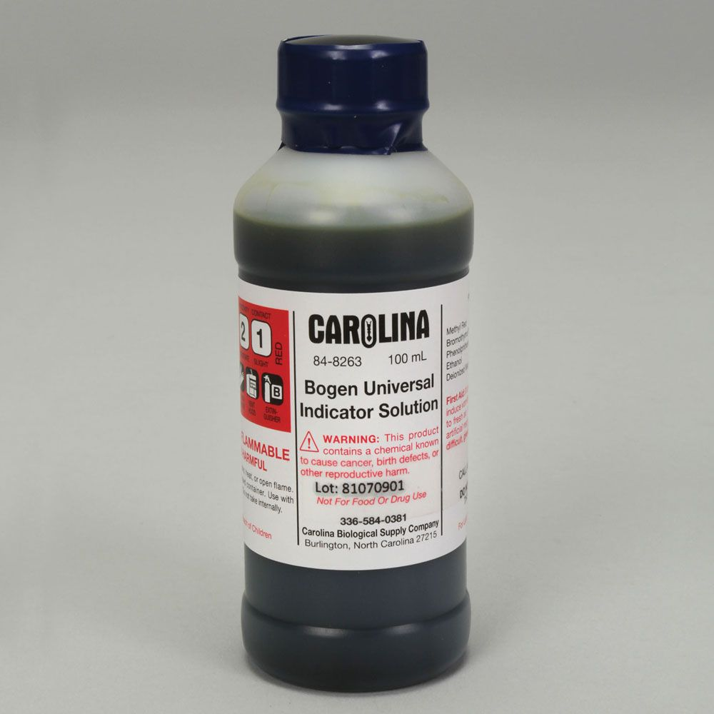 Bogen Universal Indicator, Laboratory Grade, 100 mL | Carolina.com for Universal Indicator Solution  110yll