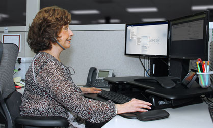Customer service associate hard at work