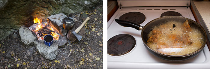 cooking on a campfire and cooking on an electric stove