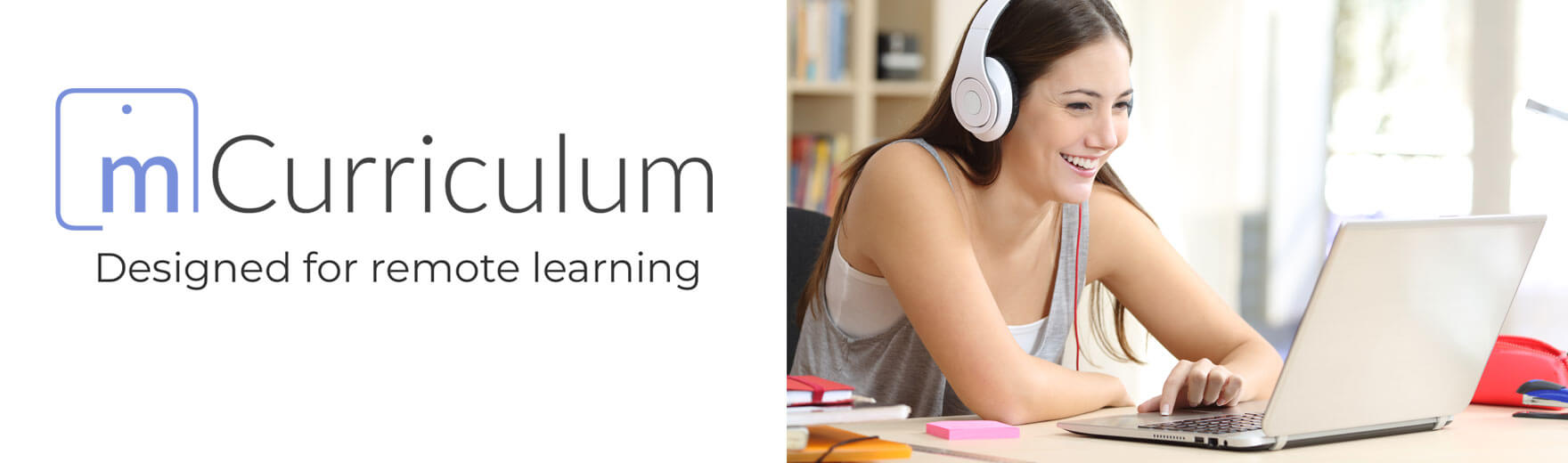 mCurriculum logo and tagline 'designed for remote learning'