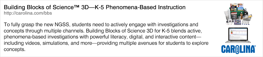 To fully grasp the new NGSS, students need to actively engage with investigations and concepts through multiple channels. Building Blocks of Science 3D for K-5 blends active, phenomena-based investigations with powerful literacy, digital, and interactive content—including videos, simulations, and more—providing multiple avenues for students to explore concepts.