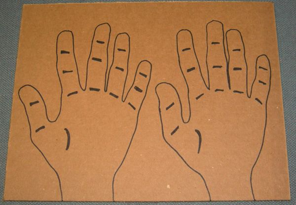Figure 1   Traced hands with joints marked.