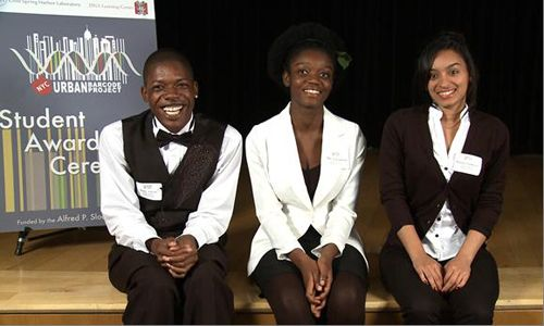 Figure 1   UBP 2011–12 first-place winners: (left to right) Bobby Glover, Mary Acheampong, and Marisa VanBrakle.
