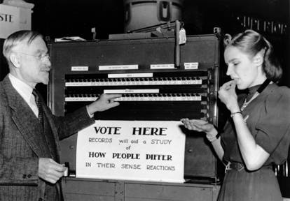 Albert Blakeslee using a voting machine to tabulate results of taste tests at the AAAS Convention, 1938. (Courtesy Cold Spring Harbor Laboratory Research Archives)