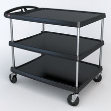 Utility Cart, Advanced Design, Black, 3-Shelf, 27-11/16 x 40-1/4 x 36-5/8""