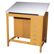 Drafting/Art Table with Drawer Box and Board Storage, 1-Piece Adjustable Top