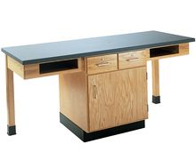 2-Student Table with Book Compartments and Drawers over Cupboard