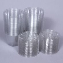 Cups with Slitted Lid, Plastic, 9 oz, Pack of 40