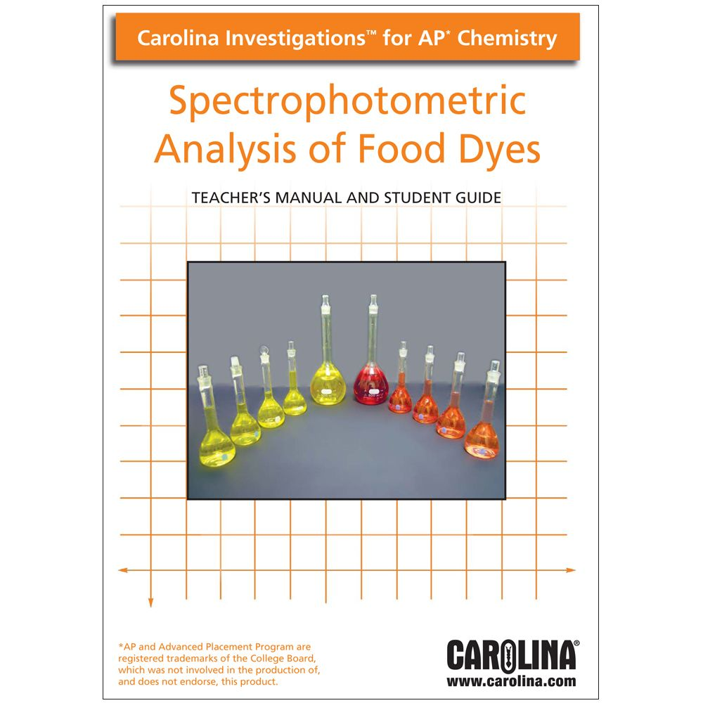 Spectrophotometric analysis of food dyes digital teacher s manual