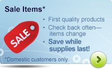 Save on clearance items while supplies last