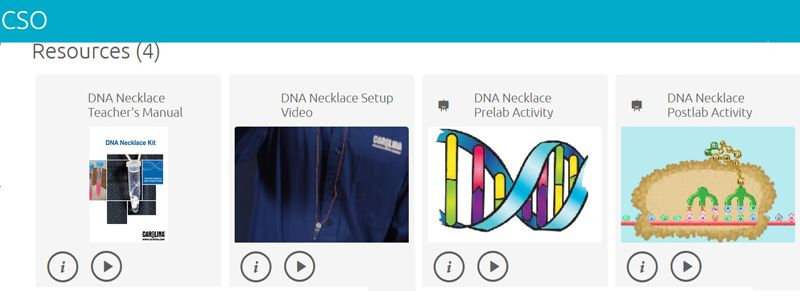 Group of enhanced digital resources included with DNA Necklace kits.