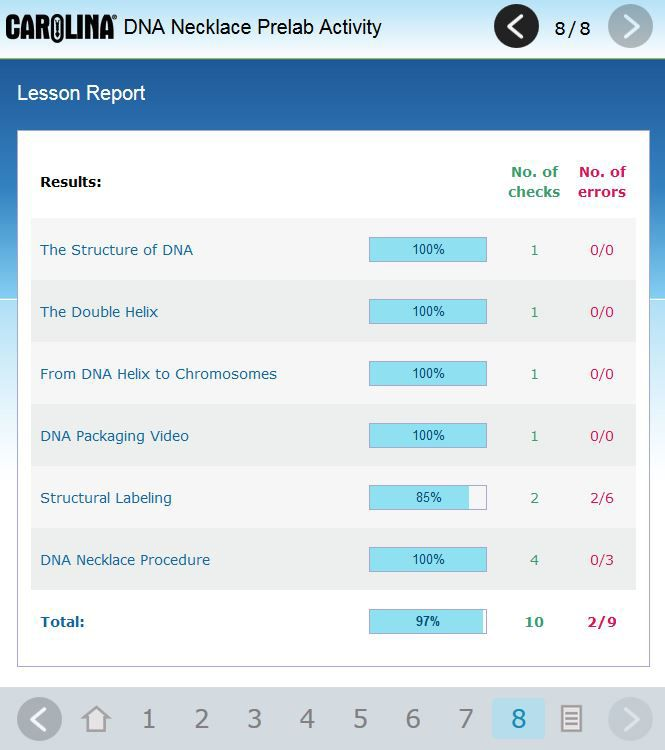 Lesson report page